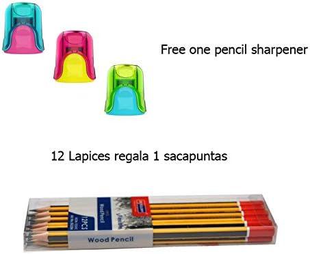2 pack de 12 Lápiceros 2HB de madera - Gratis sacapuntas con depósito: Amazon.es: Oficina y papelería