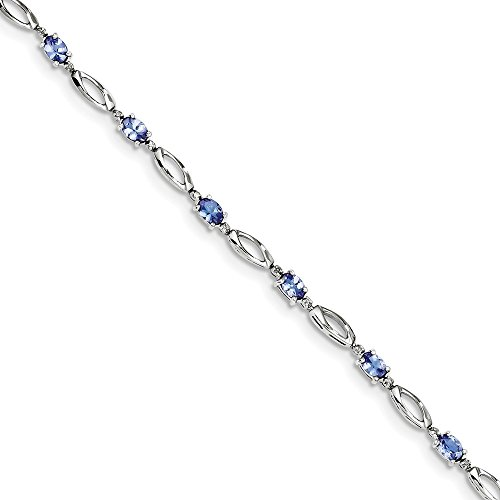 Sterling Silver Rhodium Plated Diamond & Tanzanite Bracelet (Color H-I, Clarity SI2-I1)