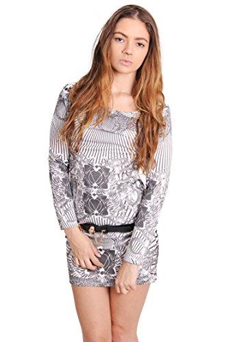 Damen Monochrome bedruckt Lange Ärmel Party Gürtel Kleid 7j6MVXcOP