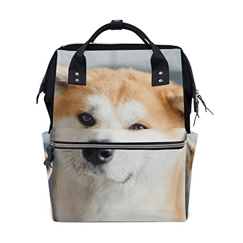 - Japanease Akita Dog Diaper Bags Mummy Tote Bags Large Capacity Multi-Function Backpack for Travel