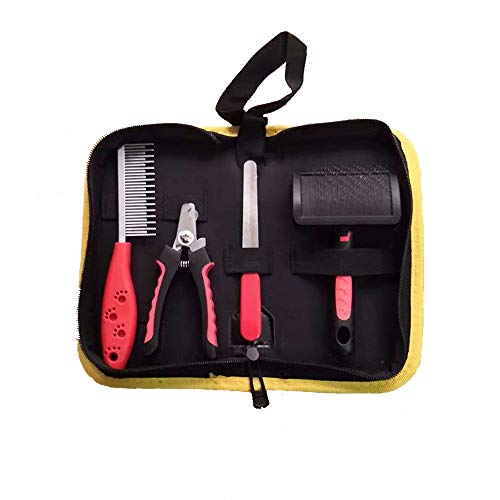NeatoTek 4 in 1 Professional Pet Grooming Kit Home Dematting Grooming Tool Set Including Nail Clippers, Fine Needle Combs, Nail File, and Thick Needle Combs with Carrying Case (4in Comb Grooming 1)