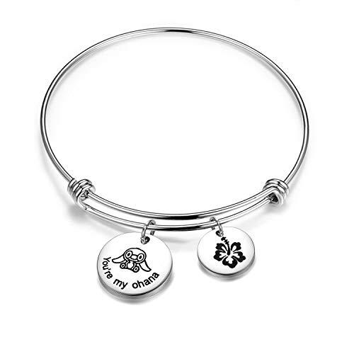 (KUIYAI You are My Ohana Family Bracelet with Hibiscus Flower Charm (You're My Ohana Bracelet))