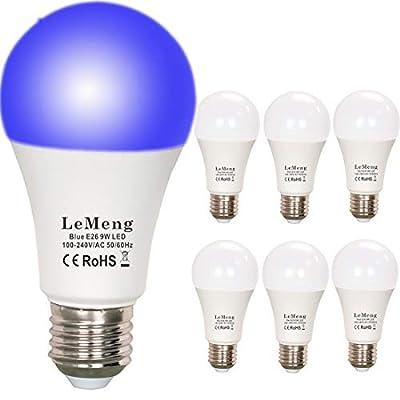 LeMeng UV LED Black Lights Bulb 9W Ultraviolet A19(75Watt Equivalent), E26 Medium Base 120V, UVA Level 395-400nm, Glow in The Dark for Blacklights Party, Body Paint