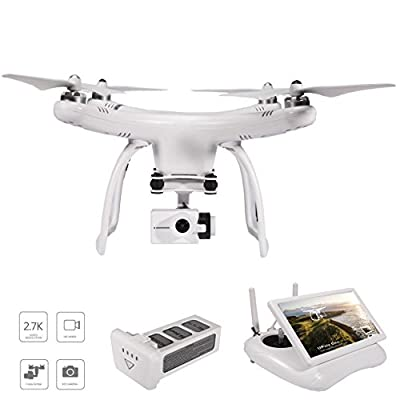 UPair One 2.7K HD Camera Drone, 5.8G FPV Monitor Transmit Live Video, 2.4G Remote Controller, GPS Drone, Auto Return 7inch Screen Quadcopter Drone by GTEN Innovation