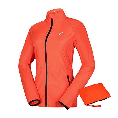 J.CARP Women's Packable Windbreaker Jacket, Lightweight and Water Resistant, Active Cycling Running Skin Coat, Orange L