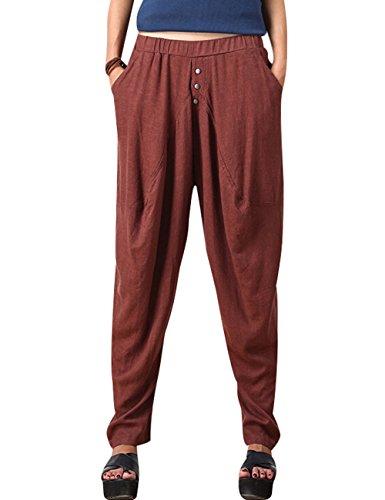 yolee-womens-elastic-waist-drop-crotch-pants-linen-harem-pants-red-beans-color-l
