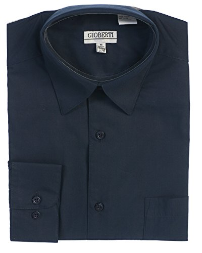(Gioberti Men's Long Sleeve Solid Dress Shirt, Navy, X Large, Sleeve 36-37)