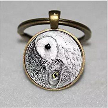 Yin Yang Llavero con búho, llavero de pájaro, llavero con ...