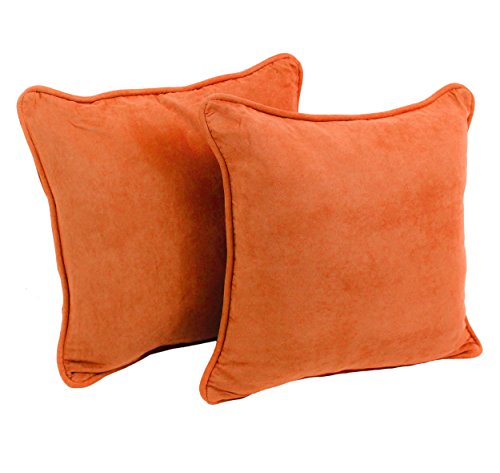 Blazing Needles Solid Microsuede Double-Corded Square Throw Pillows with Inserts (Set of 2), 18