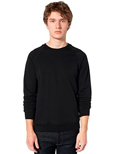 (American Apparel Men California Fleece Raglan Size L Black)