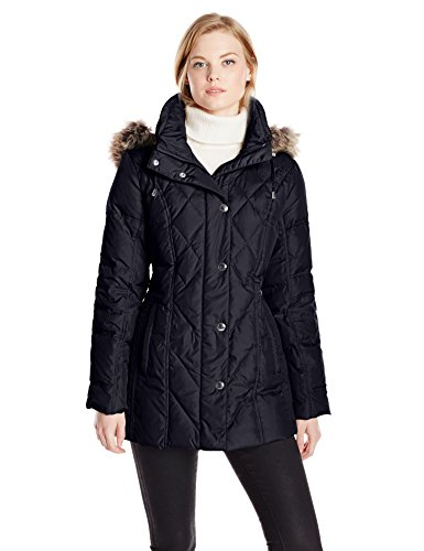 London Fog Women's Down Coat with Diamond Quilt, Navy, Medium (Quilted Womens Diamond Coat)