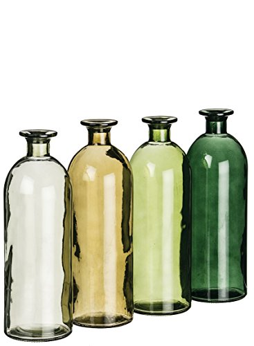 Sullivan's Green Tones Set of 4 Decorative Glass Bottles 10 Inches