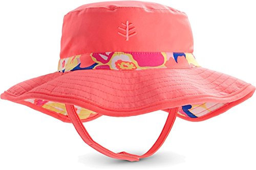 Coolibar UPF 50+ Baby Girls' Reversible Beach Bucket Hat - Sun Protective (12-24 Months - Summer Bloom)