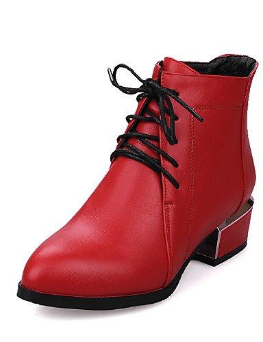 Inverno Stivaletti donna Chunky Vestito Grigio Eu35 Casual Nero Tacco a Camminare Stivali Cn34 Uk3 Grigio Autunno XZZ Scarpe Moda Rosso lacci Stivali da us5 EqPII0