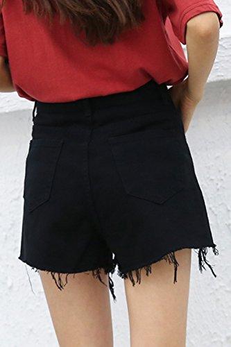 Tagliato Vita Corto Alta Jeans Fanvans Donne Ha Di Pantaloncini Black Jeans fY5w7