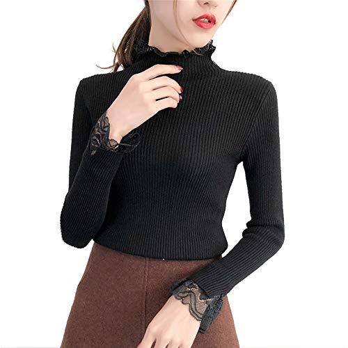 Taglia Taglia Maglia Spessore Maniche Verde Tromba Dolcevita Black da Pullover Pullover Pullover Pullover Pizzo Donna Unica AFJLD Maglioni Exq7wzZ81