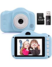 YUNKE Kindercamera, digitale camera's, camera voor kinderen met 3,5 inch scherm 8.0MP 1080P HD camera voor kinderen, USB oplaadbare speelgoedcamera voor kinderen 2-8 jaar oude verjaardag Kerstmis Nieuwjaar Gift (blauw)