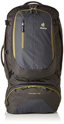 Deuter Transit 50 Travel Backpack with Removable Daypack, Anthracite/Moss