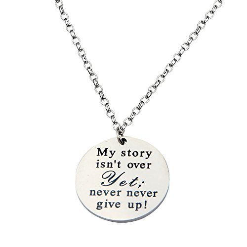 WUSUANED Custom Engraved Inspiration Disc Pendant Necklace Handwriting Personalized Graduation Gifts (Never give up) (Up Necklace)