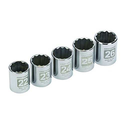 Craftsman 5 pc. Metric 12 pt. 1/2 in. dr. Large Socket Easy-to-Read Socket Accessory Set 9-34574 ()