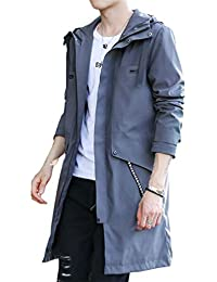 Men Autumn Winter Hooded Zipper Outwear Long Jacket Trench Coat