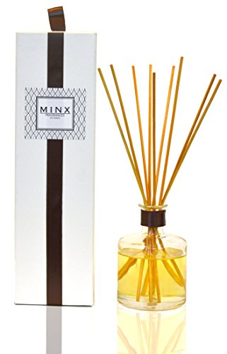 Indian Sandalwood Scented Aromatherapy oil Reed Sticks & Diffuser by MINX Fragrances with Patchouli & Ylang-Ylang Notes | Autumn & Winter Scented Air Freshener | Great Gift (Winter Reed)