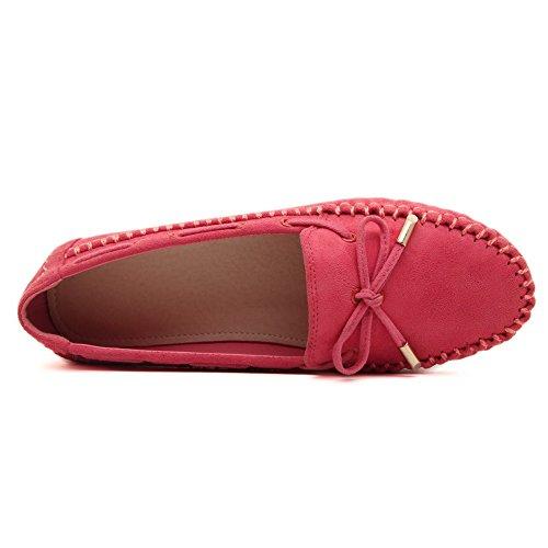 AgooLar Damen kunstleder Ziehen Auf Schließen Zehe Flache Schuhe Rot+Knot
