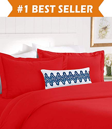 Elegant Comfort Best, Softest, Coziest Duvet Cover Ever! 1500 Thread Count Egyptian Quality Luxury Super Soft Wrinkle Free 3-Piece Duvet Cover Set, King/Cali King, Red