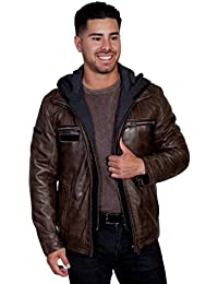 Mens Karl Leather Jacket with Zip Out Hoodie