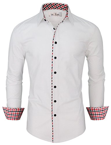 Tom's Ware Mens Fashion Casual Inner Plaid Long Sleeve Button Down Shirt Tom's Ware