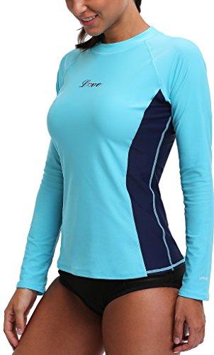 Rashguard maniche Alove da 50 nbsp; donna protezione lunghe con a maglietta Bades UV Turchese UV 0E0aScrq