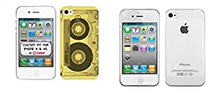Combo pack Cellet White Proguard Case with Mixtape for iPhone 4 & 4S And MYBAT Glossy Transparent Clear Candy Skin Cover for APPLE iPhone 4S/4