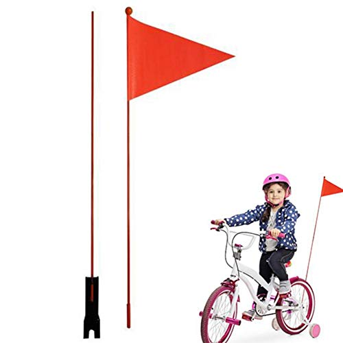 Bike Safety Flag, Bicycle Safety Triangular Flag with Glass Fiber Rod Mounting Bracket, Durable Waterproof Cycling…
