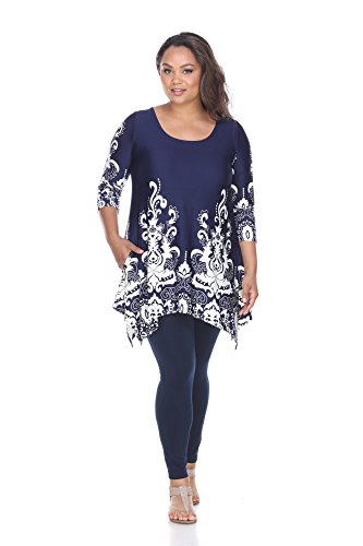 White Mark Women's Plus Size Yanette Paisley Floral Tunic Top 3XL Navy & White from White Mark