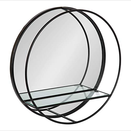 Kate and Laurel Kei Modern Round Accent Mirror with Shelf, 19