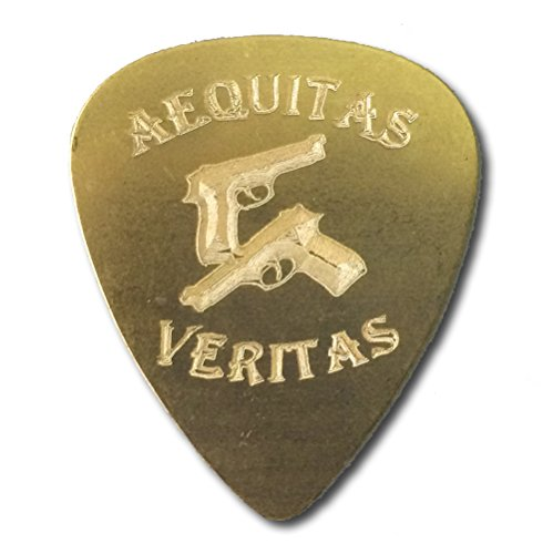 Saints Aequitas Veritas Crossed Guns Guitar Engraved Text Guitar and Bass Pick Gift (Brass)