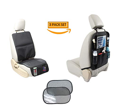 Car Seat Protector + Baby Backseat Organizer Kick Mat + Window Sunshade Leather Seat Protectors Car Seats Upholstery Cover Liner Child Travel Gear Auto Accessory Back Storage iPad Holder Bundle Pack/3