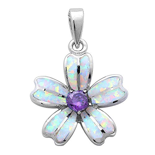 Lab Created White Opal & Simulated Amethyst Flower .925 Sterling Silver Pendant