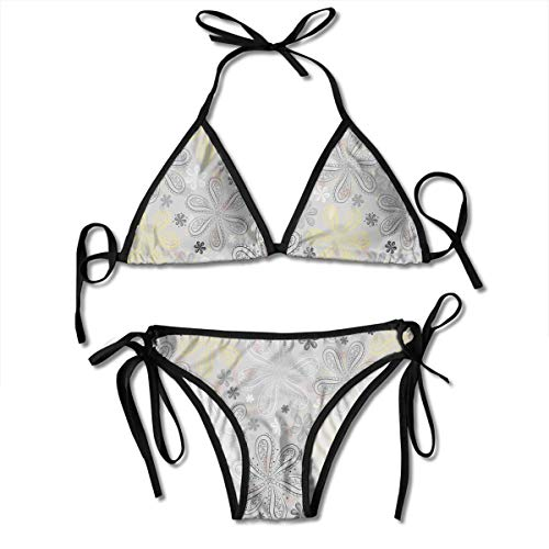 (Women's Tie Side Bottom Padding Triangle Bikini Swimsuits,Ethnic Bohem Style Paisley Print Flowers Dots Art Image,Bikini Sets Beach Swimwear Bathing Suit )