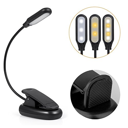 BlueBeach Rechargeable Flexible Clip-On LED Reading Light Portable Mini Reading Lamp for Amazon Kindle, Nook, eBook Readers, E-Readers, Tablet, Book, Textbook (Ebook Reader Led Light)