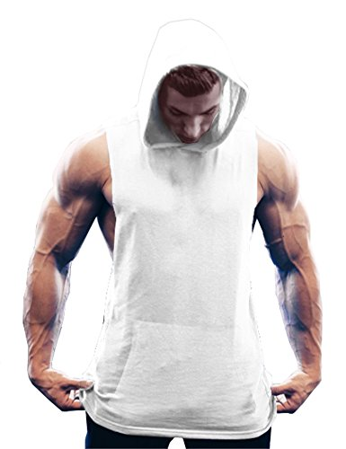 ut Hooded Tank Tops Bodybuilding Muscle T Shirt Sleeveless Gym Hoodies,White,Large ()