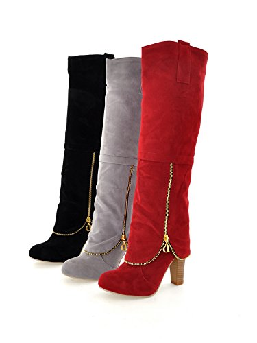 Womens Thigh Suede High Boots Knee Faux Red High AIWEIYi CBd5xTT