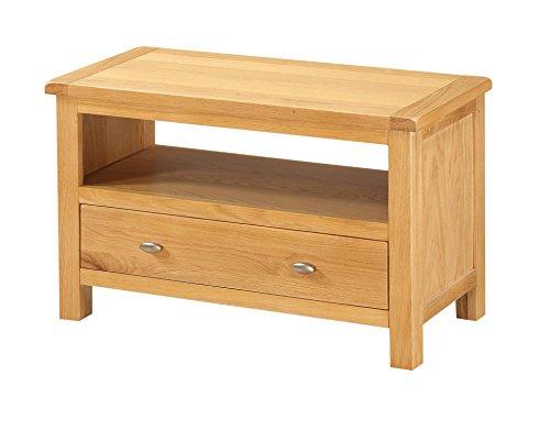 Roseland Furniture Poldark Oak TV Stand with Drawer, Light Oak Finish, Wood, Brown, 75 cm RF09845