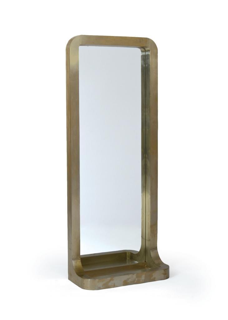 Contemporary Modern Mirror, Beige Wood
