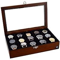Porta-Relógios Total Luxo Madeira Maciça 15 Divisórias