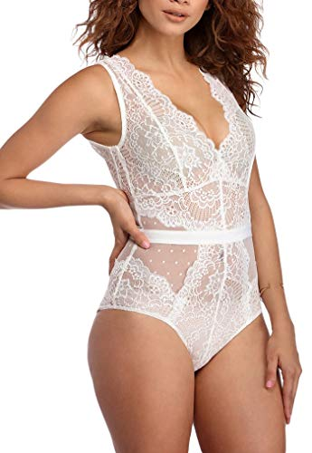 Women Scalloped Lace Bodysuit Mesh Teddy Rompers Lingeries Sets White - Halter Sheer Teddies