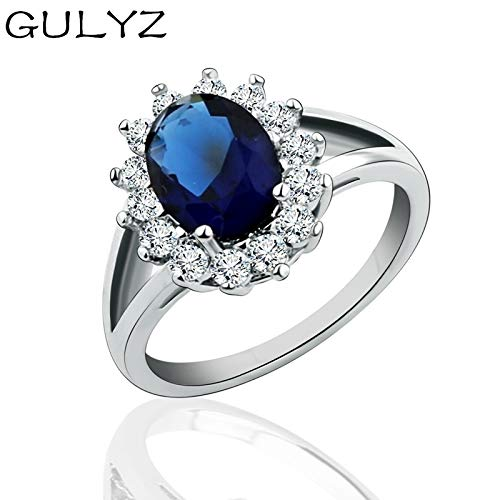 moahhally 2019 GULYZ Princess Diana Oval Cut Sapphire Platinum Birthstone Filled Ring for Wedding Party Women Size5-9 R199 Diana Platinum Wedding Ring