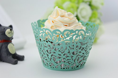 Finex® 100pcs *Flower* Wedding Cupcake Liner Wrappers Muffin Wrapper Paper Baking Party Decoration (Blue)