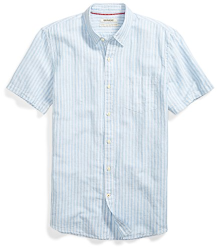 Goodthreads Men's Standard-Fit Short-Sleeve Linen and Cotton Blend Shirt, Light Blue/Multi Stripe, -
