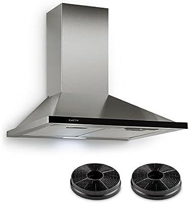Klarstein Galina - Campana extractora, Extractor de pared, Absorción y ventilación, 350 m³/h, 60 cm, Filtro grasa y 2 filtros carbon activo, Plateado: Amazon.es: Grandes electrodomésticos